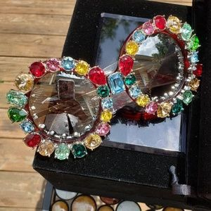 Round Colorful Crystals Sunglasses